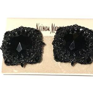 Vintage Neiman Marcus Black Stone Clip On Earring